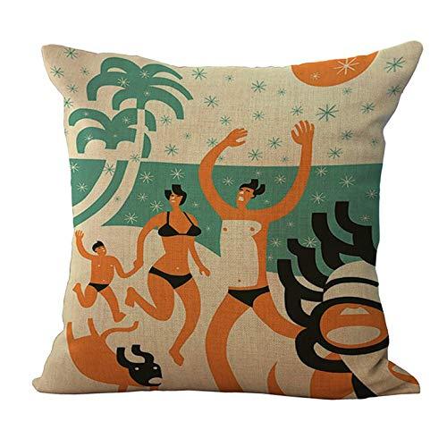 N/V Funda de almohada de lino para decoración del hogar, funda de cojín de sofá de coche M1013