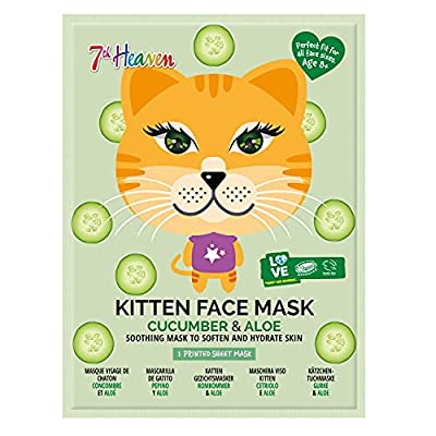 7th Heaven Face Food Kitten Sheet Face Mask Cucumber And Aloe Soothing Mask To Soften And Hydrate Skin, 0.021 Kg from Montagne Jeunesse