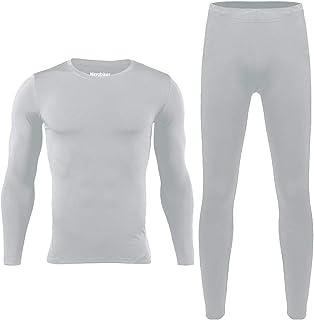 طقم ملابس داخلية حرارية للرجال من هيروبيكير للتزلج في الشتاء أعلى وأسفل حراري طويل جونز أسود