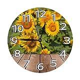 DZCP-y Campo de Girasol en Reloj de Pared de Madera Relojes Decorativos Reloj de Pared Redondo