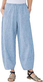 BBesty Save 15% Women's Plus Size Soild Color Comfort Straight Wide Leg Loose Striped Pocket Trousers Pants
