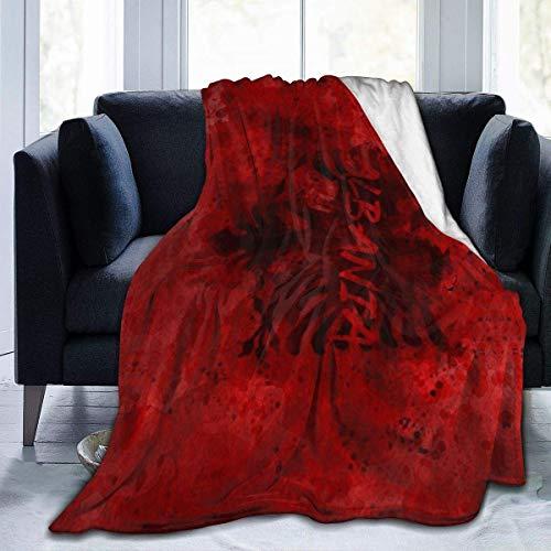 Rcivdkem - Coperta in micropile, per divano e divano, motivo: bandiera dell'Albania, per donne e uomini