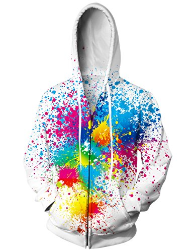 uideazone Collage 3D Colorful Graffiti Zip Up Pullover Hooded Sweatshirts Hip Hop Costume Jacket Coat White