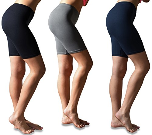 Sexy Basics Womens 3 Pack Buttery Soft Brushed Active Stretch Yoga Bike Short Boxer Briefs (3 Pack- Black/Charcoal/Navy, X-Large)