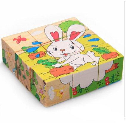 新品!動物ウサギ  9コマ  木製のおもちゃ パズル 誕生日のプレゼント  おもちゃ 知育玩具  幼児教育アプリシリーズ  知識を増すおもちゃ雑貨  木制品 zqzb0260-3