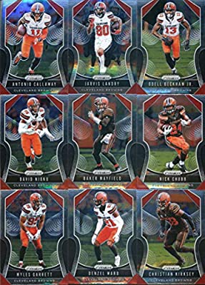 2019 Panini Prizm Football Cleveland Browns Veteran Team Set of 9 Cards: Antonio Callaway(#84), Jarvis Landry(#85), Odell Beckham Jr.(#86), David Njoku(#87), Baker Mayfield(#88), Nick Chubb(#89), Myles Garrett(#90), Denzel Ward(#91), Christian Kirksey(#92