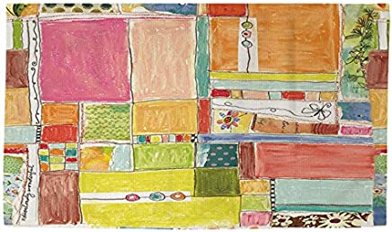 Manual Woodworkers & Weavers dobby Bath Rug, 4by 6-feet, patchwork–Wonderful