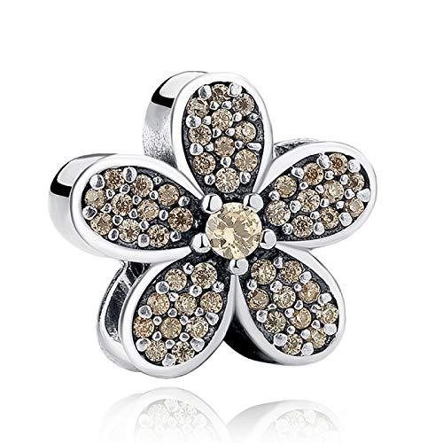 LISHOU DIY 925 Plata Esterlina Cristal Flor Encanto Cuentas Joyería De Moda para Mujer Adecuado para Pandora Pulsera Brazalete Regalo