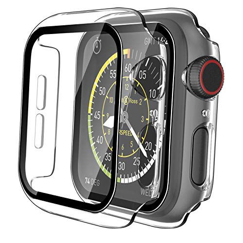 Tauri 2 Pack Hard Case for Apple Watch SE Series 6/5/4 44mm Built in 9H Tempered Glass Screen Protector, Slim Bumper, Touch Sensitive, Scratch-Resistant Full Protective Cover for iWatch 44mm - Clear