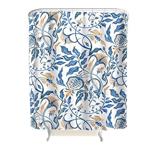 Xuanwuyi Flower Line Art colorido textil - 2019 patrón de arte tendencia patrón decoración diseño con ganchos durable tela impermeable cortina de ducha para bañeras blanco 72 x 79 pulgadas