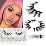 Dorvey Beauty Mink Lashes, 3D Mink Eyelashes 18mm Natural Look Short Fluffy Strip Lashes Real Mink Eyelashes Siberian Hand Made Daily False Eyelashes 1 Pair (DB026)
