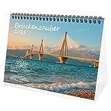 Brückenzauber DIN A5 Tischkalender für 2021 Brücken - Geschenkset Inhalt: 1x Kalender, 1x Weihnachtskarte (insgesamt 2 Teile)