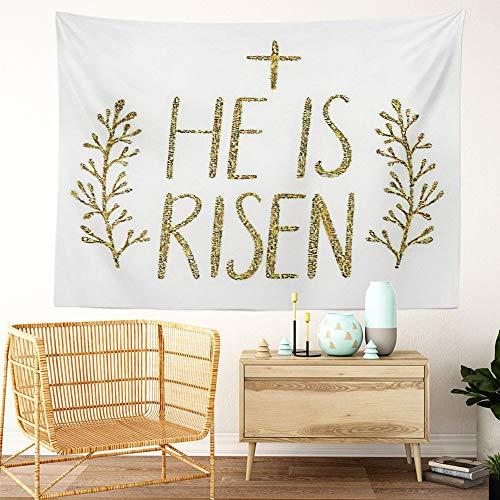 Y·JIANG He Is Risen Tapestry, Letras de Pascua con textura de purpurina dorada, tapiz decorativo grande, manta para colgar en la sala de estar, dormitorio, 80 x 60 pulgadas
