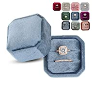 Marble Wolf Velvet Ring Box Vintage Inspired - Octagon Square Ring Box - Perfect for Engagement Bride Wedding Photography - Bridal Gift for Mrs. … (Sapphire Ice)