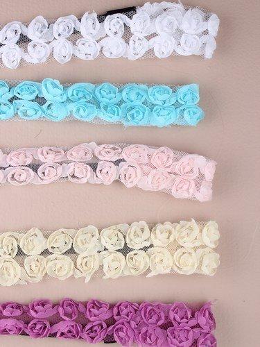 Noir Bandeaux élastique avec roses en tissu detail. en lilas/Bleu/Pêche/crème/blanc et violet.