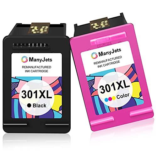 Manyjets 301 XL Ersatz für hp 301 druckerpatronen Multipack & für hp 301 XL für HP Deskjet 1000 1050A 1510 2050 2540 2544 3050 HP Envy 4500 4504 5530 HP OfficeJet 2620 2622 4630 (1Schwarz,1Farbe)