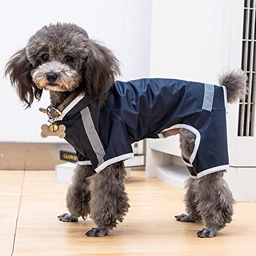Teddy Bichon hond regenjas kleine schnauzer puppy hond paraplu waterdichte poncho benen Corgi kleding voor huisdieren donkerblauw S