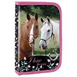 Ragusa-Trade Mädchen Kinder Pferde 1-Fach Federtasche Federmappe Schlamper 22 TLG. gefüllt (19), pink, 20,5 x 13 x 4 cm