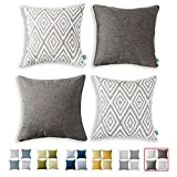 HPUK Decorative Throw Pillow Covers Set of 4 Geometric Design Linen Cushion Cover for Couch Sofa Living Room, 17'x17' inches, Natural