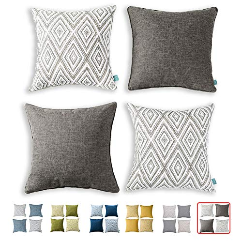 HPUK Decorative Throw Pillow Covers Set of 4 Geometric Design Linen Cushion Cover for Couch Sofa Living Room, 17