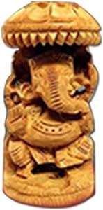 PMK Khandekar Señor de Madera Estatua de Ganesha Elefante Indio Dios Tallado a Mano Decorativo casero Estatuilla de Ganesha Religiosa