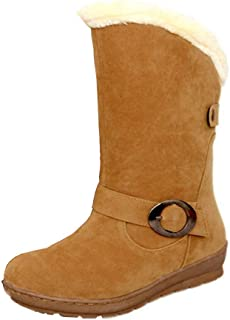 Round-Head Flat-Bottomed Flat-Heeled Metal Buckle Non-Slip Cotton Shoes Boots (Color : Yellow, Size : 3.5 UK)