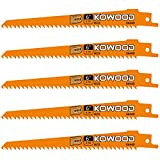 6-Inch Wood Pruning Saw Blades for Reciprocating/Sawzall Saws/Sabre Saws by KOWOOD - 5 Pcs Pack Wood Cutting Set