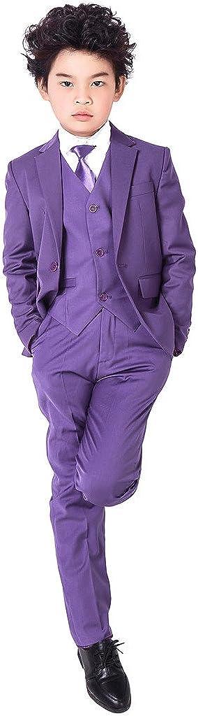 XoMoFlag Boys' Formal Suit Single-Breasted Wedding Attire Performance Purple
