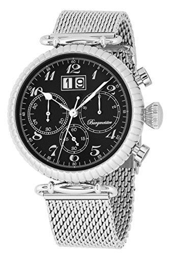 Burgmeister Armbanduhr für Herren mit Analog-Anzeige, Chronograph mit Edelstahl Armband - wasserdichte Herrenarmbanduhr mit zeitlosem, schickem Design - Klassische Uhr für Männer - BMP02-121 Paris