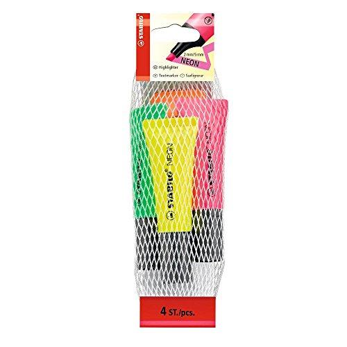 Textmarker - STABILO NEON - 4er Pack - gelb, grün, pink, orange