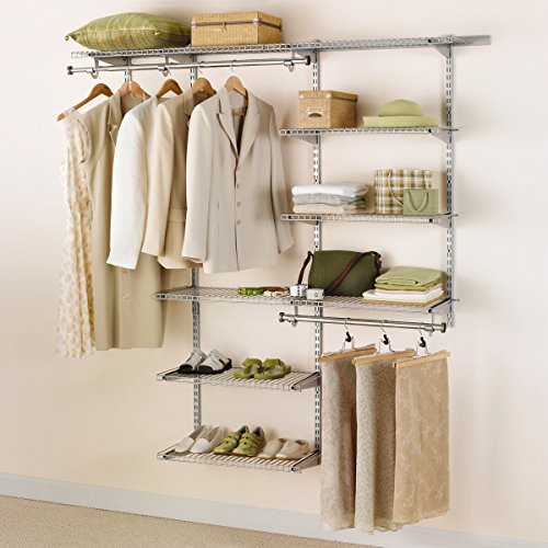 Rubbermaid Configurations Deluxe Closet Kit, Titanium, 3-6 Ft., Wire Shelving Kit with Expandable Shelving and Telescoping Rods, Custom Closet Organization System, Easy Installation