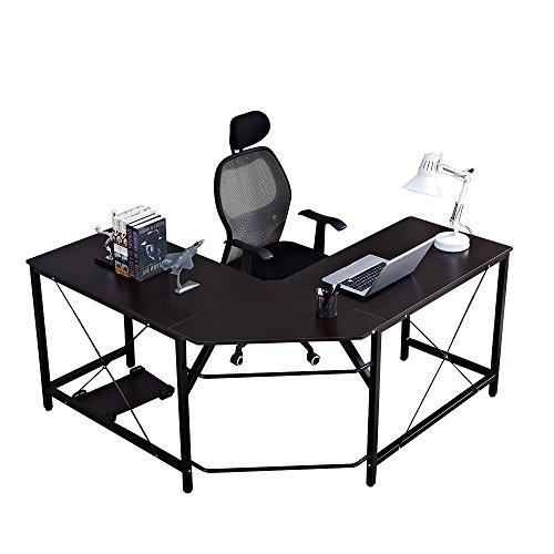 sogesfurniture Escritorio de Computadora en Forma de L, 150cm + 150cm Mesa de Ordenador Mesa de Estudio Estación de Trabajo, Mesa Esquinera para Casa, Oficina, Negro LD-Z01-BH