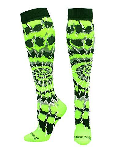 MadSportsStuff Crazy Tie Dye Socks Over The Calf (Neon Green/Black/White, Large)
