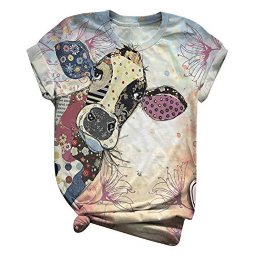 Damen Kurzarm Lustig Tire Print T-Shirts Doppelseitiger 3D Druck Rundhals Tshirt Katzen Sonnenblume Giraffe Katze Schwanz Hund Kuh Muster Oberteile Mädchen Schön Tops Bluse Shirts