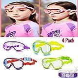 Kids Swim Mask Set - (4) Pack Childrens Swimming Mask Goggles - Adjustable