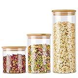 Tarros de cristal para almacenamiento de alimentos con tapa de bambú hermética, tarros de almacenamiento de alimentos para harina, azúcar, café, dulces, galletas, especias y mucho más.
