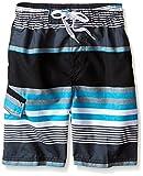 Kanu Surf Boys' Big Viper Quick Dry UPF 50+ Beach Swim Trunk, Optic Black/Aqua, 8