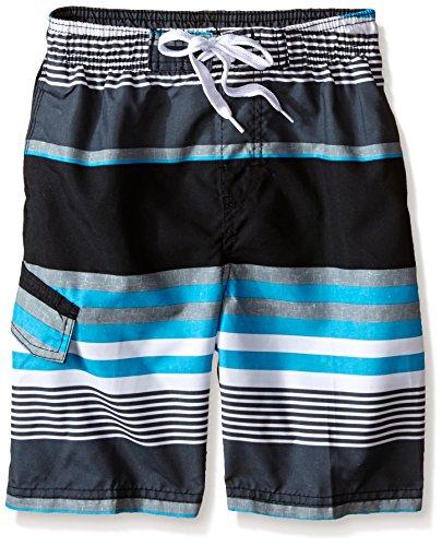 Kanu Surf Boys' Toddler Viper Quick Dry UPF 50+ Beach Swim Trunk, Optic Black/Aqua, 3T