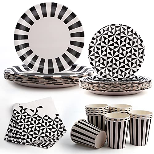 Black Party Tableware Set Disposable Paper Plates Cups Napkins Service 16 Guests Party Supplies Tableware for Birthday Party Baby Shower Wedding Graduation Halloween Christmas Garden Camping Picnic