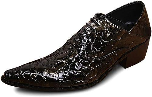 Rui Landed Oxford para hombres zapatos Formales Lace Up Style Premium Cocodrilo de Cuero Genuino Textura en Relieve Bloque de Dedo del Pie En Punto Superior Superior Tacón Alto Discoteca