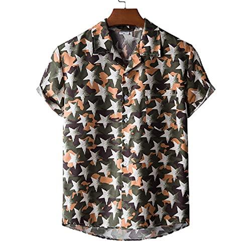 SSBZYES Camisa De Verano De Manga Corta para Hombre Camisa De Talla Grande para Hombre Camisa De Traje De Verano De Playa Hawaiana con Cuello Camisa Estampada De Manga Corta
