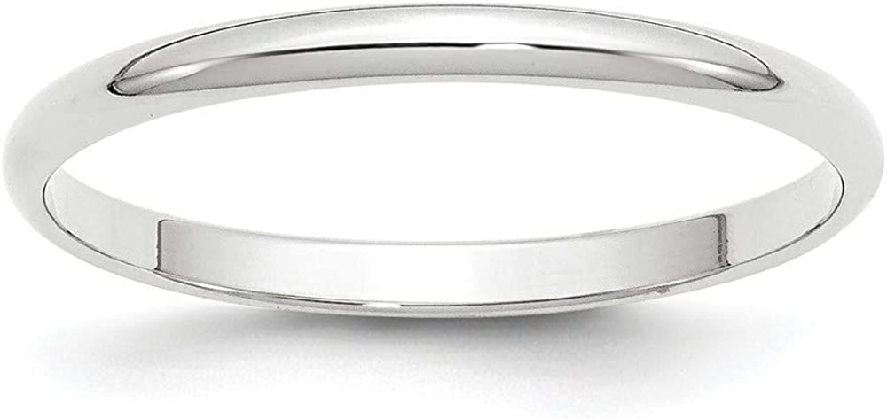 10k White Gold 2mm Plain Classic Dome Wedding Band Ring