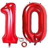 Jxuzh Globo de 10 cumpleaños rojo con número 10, globo gigante rojo, globos de helio, globos grandes con números 10, años grandes, XXL, Happy Birthday de 32 pulgadas, para niñas y niños