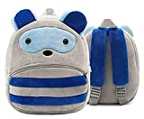 FASNO Premium Quality Soft Blue& Grey RECCOON Velvet Plush Bag for Kids.