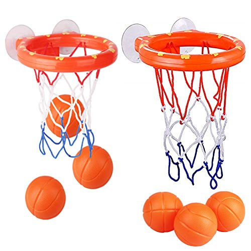 KISEER 2 Pack Fun Basketball Hoop with Heavy Duty Suction Cups Bathroom Bathtub Shooting Game Balls Toy Set with 6 Balls for Kids