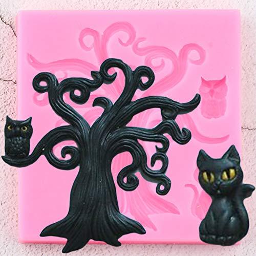 JLZK 3D Arte Halloween árbol Gato Molde de Silicona búho decoración de Pasteles Molde de Fondant Cupcake Arcilla para Hornear Molde de Chocolate Dulce