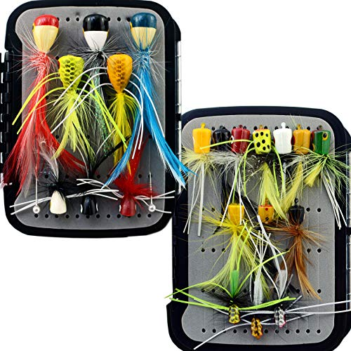 YAZHIDA Fly Fishing Flies Kit Fly Assortment Trout Bass Fishing with Fly Box, with Dry/Wet Flies, Nymphs, Streamers,Fly Poppers (pop21)