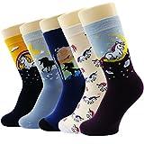 Neuheit Socken Baumwolle Crew Einhorn Eule Katze Bauernhof Prinzessin Meerjungfrau Socken - Cartoon Tier Socken - 5 Pack Weihnachtssocken Geschenkbox (Mehrfarbig Einhorn)