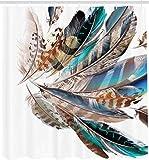 YUJEJ801 Pluma de pájaro de vuelo de contorno Cortina de Ducha, Cortinas Baño Antimoho y Lavables Impermeable Cortinas Bañera 180x180CM con 12 Aros,de Impresión Digital en 3D Decoración del hogar baño