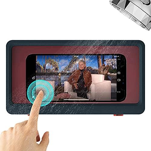Shower Phone Holder Waterproof Anti-Fog Touch Screen Wall Mount Phone Holder for Shower Bathroom Mirror Bathtub (Blue)